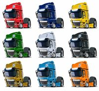 Cartoon semi trucks set isolated on white