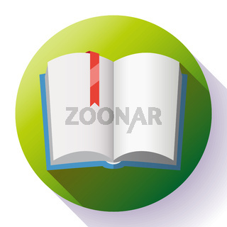 Icon of open textbook with red bookmark.