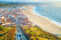 Nazare skyline, funicular beach Portugal