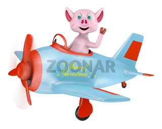 Piglet in airplane Merry Christmas
