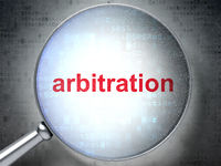 Law concept: Arbitration with optical glass