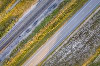 highway and railroad tracks in Nebraska Sandhills