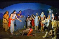Changdev Maharaj offering prayers to Saint Dnyaneshwar, Hadshi Temple, Sant Darshan Museum near tikona Vadgoan Maval, District Pune, Maharashtra, India