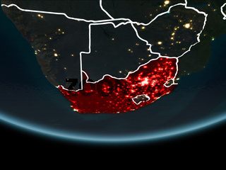 South Africa on Earth from space at night