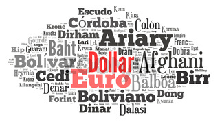 wordcloud illustration of currencies of the world