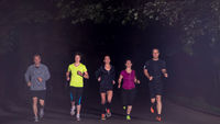 runners team on the night training