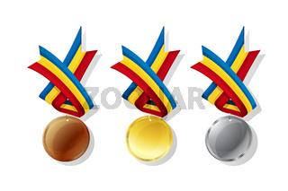 Romanian vector medals set