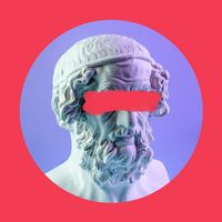 Contemporary art colorful poster with details of ancient statues bust Homer.