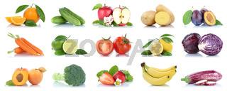 Obst und Gemüse Früchte viele Apfel Tomaten Orangen Zitronen Farben Freisteller freigestellt isoliert