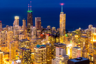 aerial view of Chicago Skylines night
