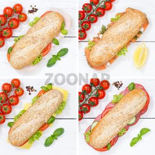 Baguette Vollkorn Brötchen Collage Schinken Salami Käse Fisch Quadrat von oben auf Holzbrett