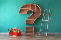 Toolbox with tools, ladder and bookshelf in form of question mark. Renovation, construction and improvement FAQ concept.