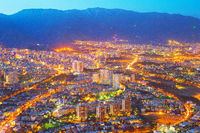 Aerial skyline Tehran twilight. Iran