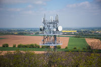 Telecommunication and Communication Tower Antenna, Technology 3G,4G of Industrial Transmission Network. In the forrest.