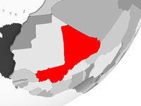 Mali in red on grey map