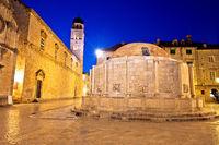 Onofrio Fountain and Stradun street in Dubrovnik evening view