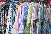 clothes rack with boho hippie style floral pattern women's fashion