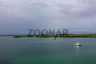 Landscape of Iceland. Entrance to Reykjavik harbor.