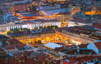 Night Lisbon downtown square Portugal