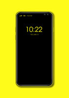 All-screen black smartphone mockup isolated on yellow. 3D render