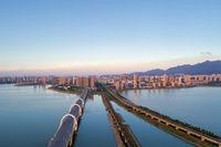 jiujiang cityscape in sunset
