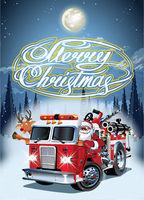 Cartoon retro Christmas poster with firetruck and Santa Claus