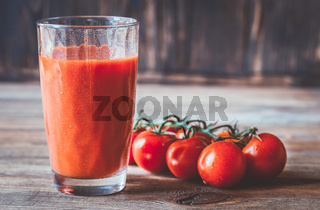 A glass of tomato juice