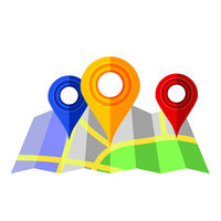 Colorful Markers Pointer with Paper Road Map. GPS Location Icon.