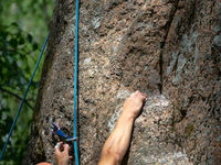 Hands of male rock climber hanging on cliff.