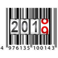 2019 New Year counter, barcode calendar illustration