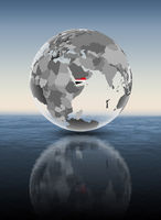 Yemen on translucent globe above water