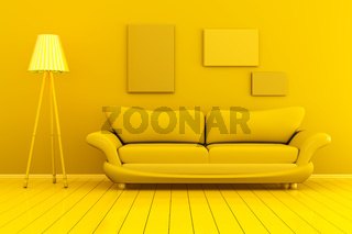 Monochromatic image of a Room with blank picture frames