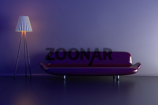 3d illustration of a lamp and a purple sofa in a dark room.