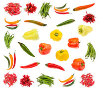various fresh pepper vegetables isolated on white