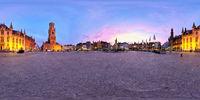Brugge Grote Markt square with Belfry. Bruges, Belgium