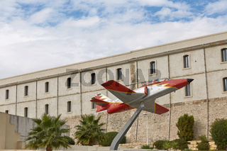 Model of a plane in front of technical university in Cartagena, area of Murcia in Spain