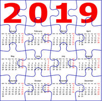 Calendar for 2019, jigsaw puzzle texture background