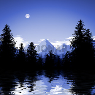 blue forest lake illustration