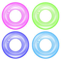Set of Colorful Swim Rings . Inflatable Rubber Toys. Colored Lifebuoy. Ring for Water Game. Vacation or Trip Safety