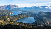 Gorgeous view from the top of Cerro Companario in San Carlos de Bariloche, Argentina's Patagonia region