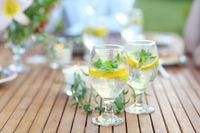 Two glasses of homemade lemonade on table