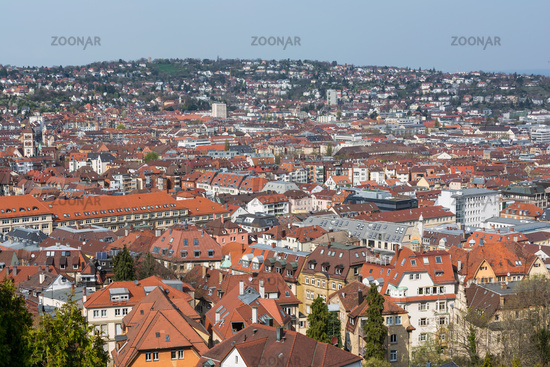 Stuttgart Kessel Landscape Blue Sky Foggy Beautiful Day Orange European Roof Mountains Baden Wuerttemberg