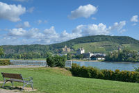 Blick vom Kurpark in Bad Breisig auf Bad Hoenningen,Rheinland-Pfalz,Deutschland