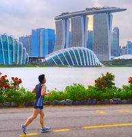 Man jogging in Singapore bay