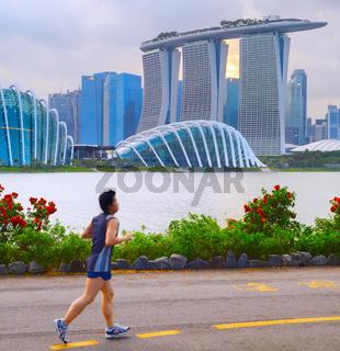 Man jogging in Singapore bay