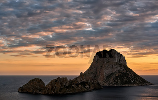 Picturesque view of the mysterious island of Es Vedra at sunset. Ibiza Island,  Balearic Islands. Spain