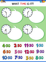telling time with clock face educational game