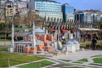 Istanbul, Turkey - March 23, 2019: Miniaturk is a miniature park in Istanbul, Turkey. The park contains 122 models. Panoramic view of Miniaturk