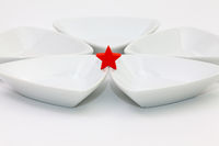 Ceramic bowls for sushi food and red star