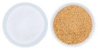 Zucker braun und Rohrzucker von oben isoliert freigestellt Freisteller